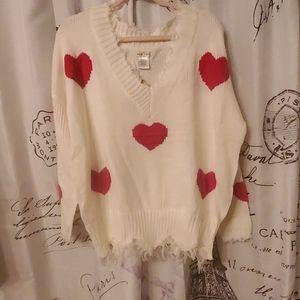IM IN LOVE WITH SWEATER hearts of red ,v neck,sz l